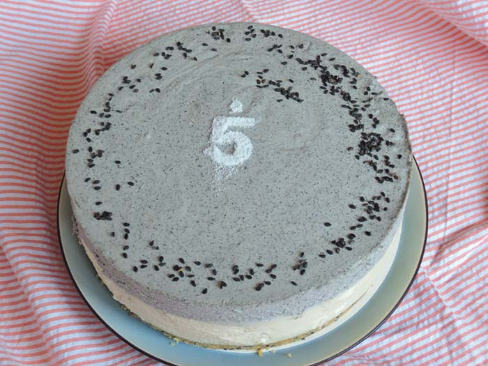 black sesame tofu cheesecake 5th anniversary